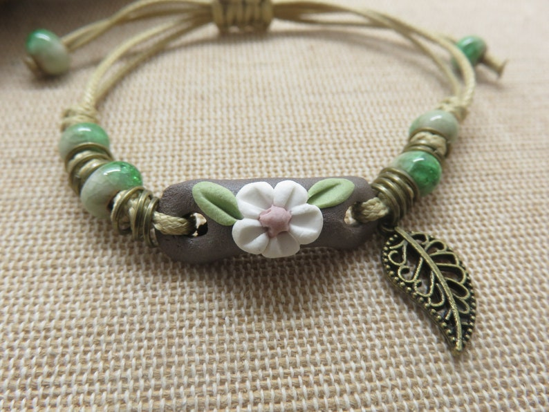 Flower bracelet beaded bronze leaf jewelry woman boho gifts for mom