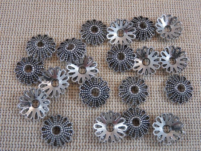 20 Flower cups watermarked metal metallic color 12mm  set of image 0