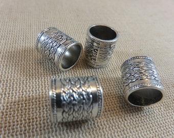 4 Perles colonne métal 14x13mm Bronze ou Argenté - ensemble de 4 perles de cheveux dreadlocks barbe