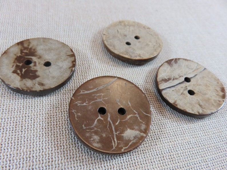 4 Large round brown coconut wood buttons 34mm  set of 4 image 0