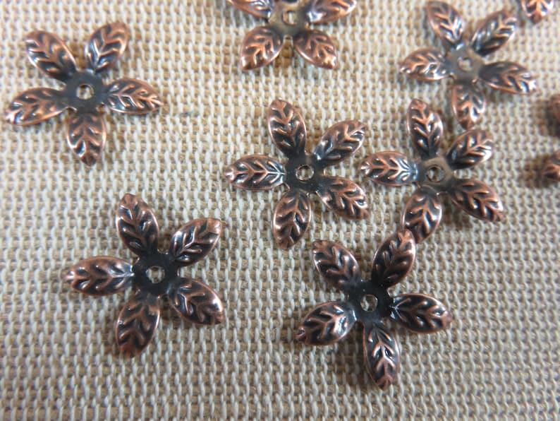 25 Flower cups petal color copper 14mm  set of 25 caps for image 0