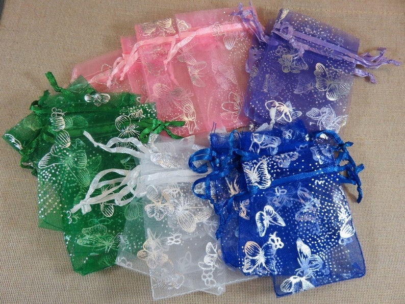 10 Multicolored butterfly organza bags 9x7cm  set of 10 image 0
