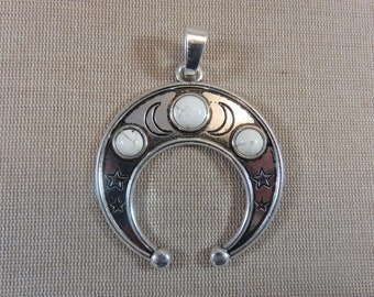 Large moon pendant boho metal silver colored 76mm - for making celestial jewelry