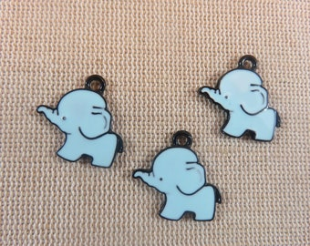 Blue elephant, dark blue enameled charms pendants, set of 3 small pendants, elephants kawaii charms, jewelry supplies