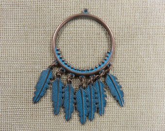 Pendant boho feather metal color copper patinated antique