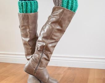 Fashion Colour Block Boot Cuffs - One Size