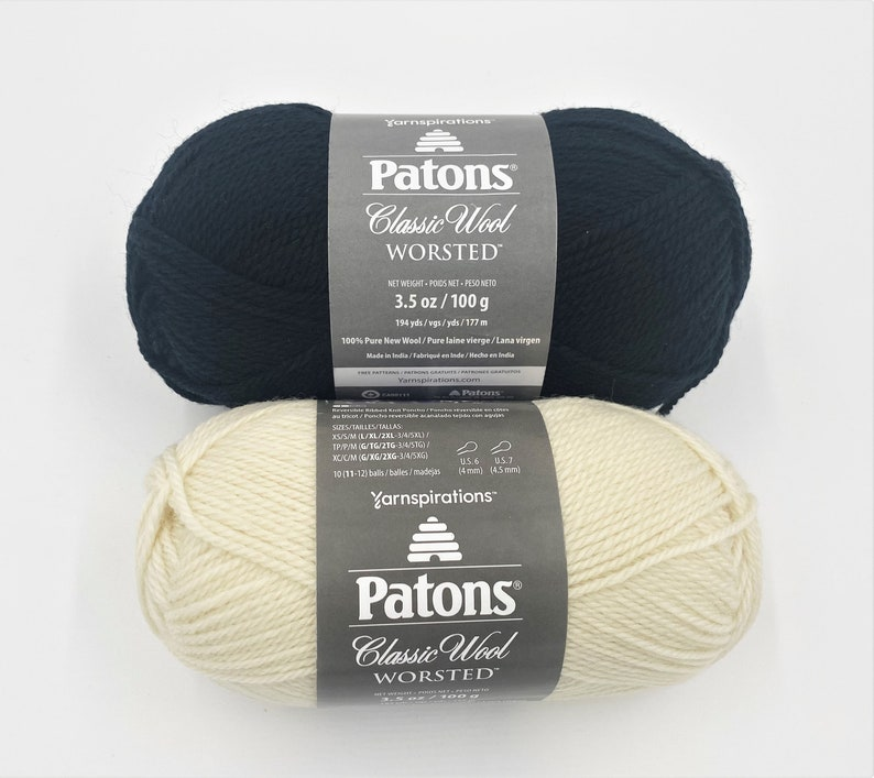 Mothers Day gift for knitting sweater hat afghan Destash pure wool yarn Patons Classic Wool Worsted yarn available in black or off-white