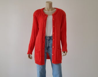 Red mohair cardigan   Etsy