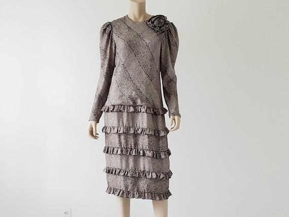 1980s Vintage Silk Tiered Ruffle Dress Long Puffy… - image 6