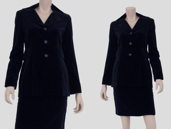1990s Vintage Blue Velvet Suit Cotton Velvet Elega