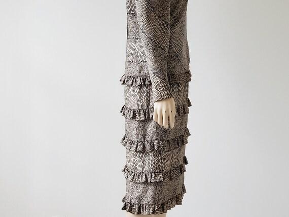 1980s Vintage Silk Tiered Ruffle Dress Long Puffy… - image 8
