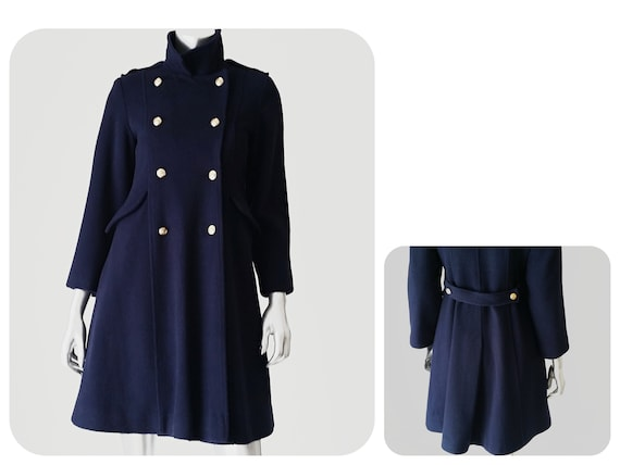 70s Clothing Military Style Coat Women Princess Fit   Flare  9efc8d2f58
