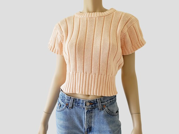 1980s Vintage Chunky Cotton Crop Sweater Short Sle