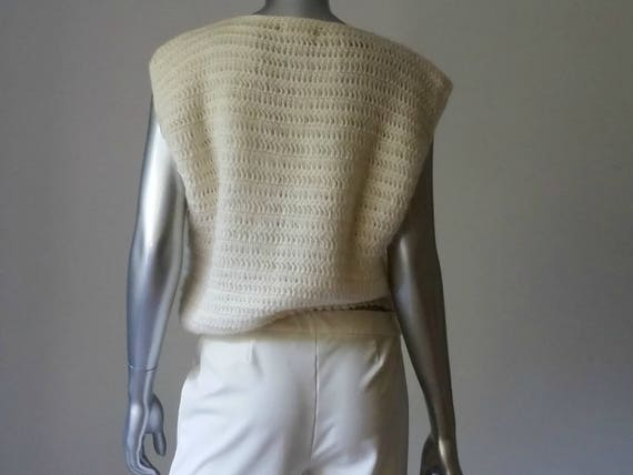 1980s Vintage Chunky Crochet Sweater Vest Intarsi… - image 6