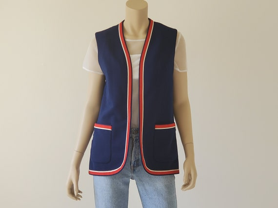 1960s Vintage Mod Top, Red White Blue Double Knit
