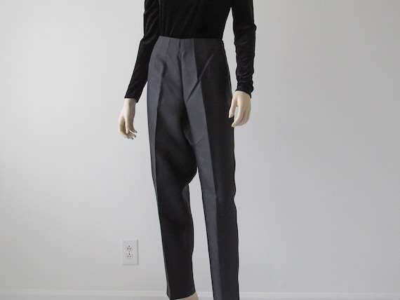1990s Vintage High Waisted Black Silk Pants, Vinta