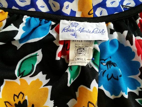1970s Vintage Black Floral Wrap Skirt, Rose Marie… - image 8