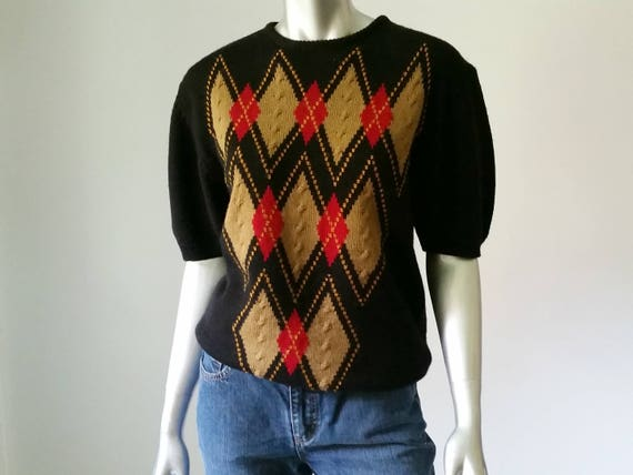 22566901b35653 80s Vintage Argyle Sweater Relaxed Sweater 80s Sweater