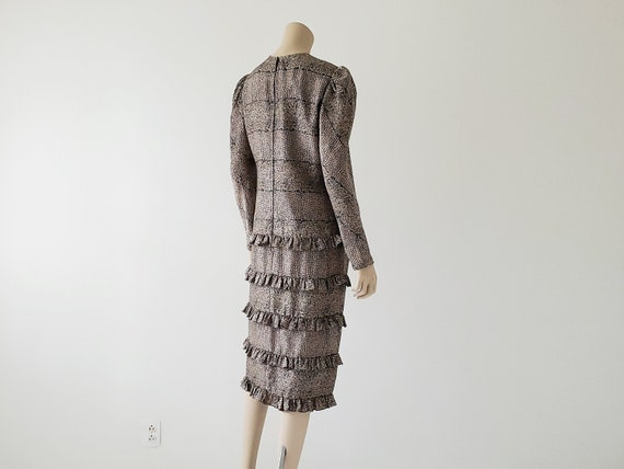 1980s Vintage Silk Tiered Ruffle Dress Long Puffy… - image 3