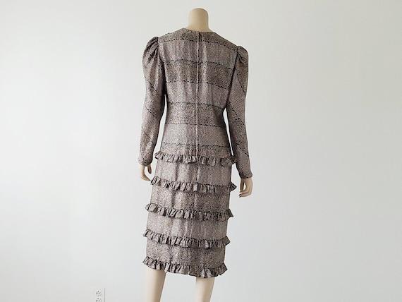 1980s Vintage Silk Tiered Ruffle Dress Long Puffy… - image 2