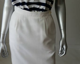 80s vintage white pencil skirt + high waisted skirt + skirt with pockets + 27 waist