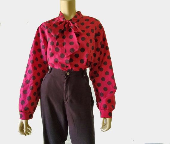 1970s Vintage Pussy Bow Blouse Magenta Blouse Polk