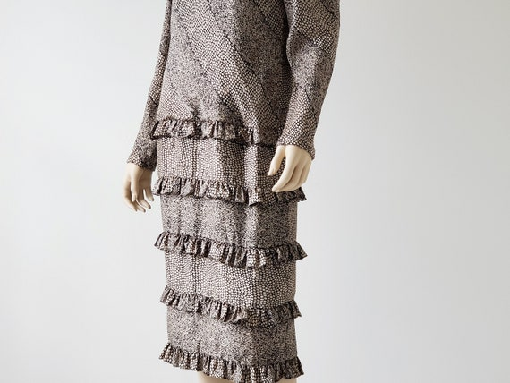 1980s Vintage Silk Tiered Ruffle Dress Long Puffy… - image 7