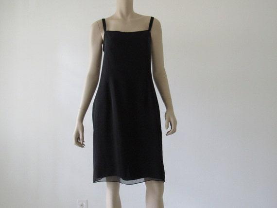 90s Silk Slip Dress/Chiffon Silk/Black/Knee Length