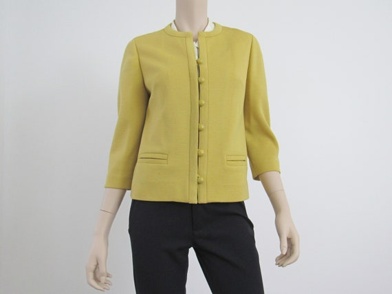 1960s Vintage Chartreuse Pure Wool Jacket, Collarl