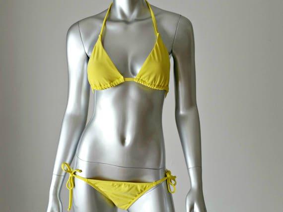 1990s Vintage Bikini, Lemon Yellow String Bikini,