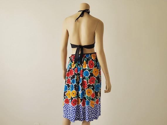 1970s Vintage Black Floral Wrap Skirt, Rose Marie… - image 2