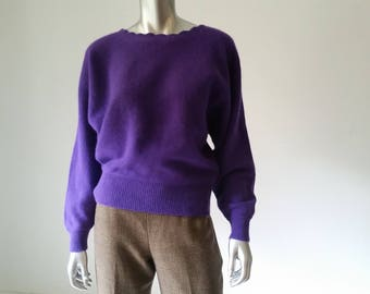90s | Victoria Secret | Purple | Boatneck | Stylish Sweater | Lambswool | Angora Sweater | Scalloped | Dolman Sleeves | 90s Clothes | Dressy