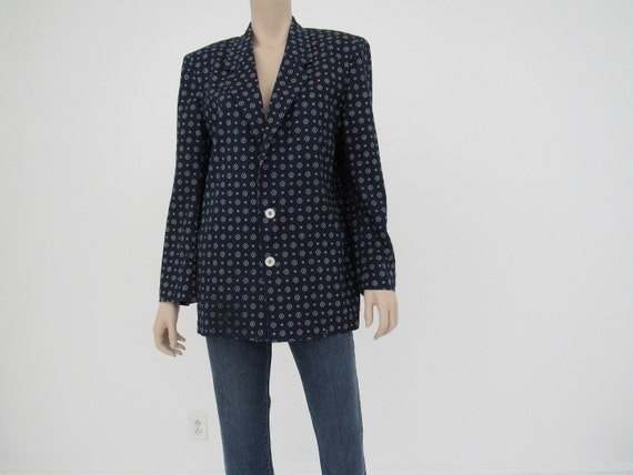 80s Vintage Navy Linen Cotton Blazer, J G Hook, Ov