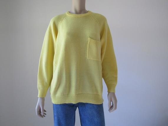 1980s Vintage Yellow Oversized Sweater, Lemondrop