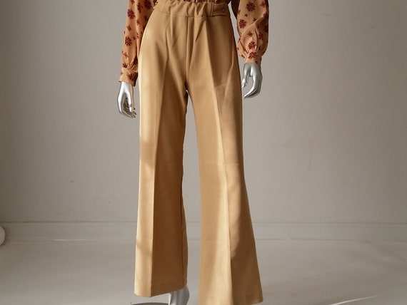 70s Bell Bottoms, Beige High Waisted Pants, Polyes