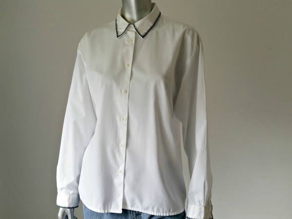 1990s Vintage Oversized White Button Up Shirt, Cot