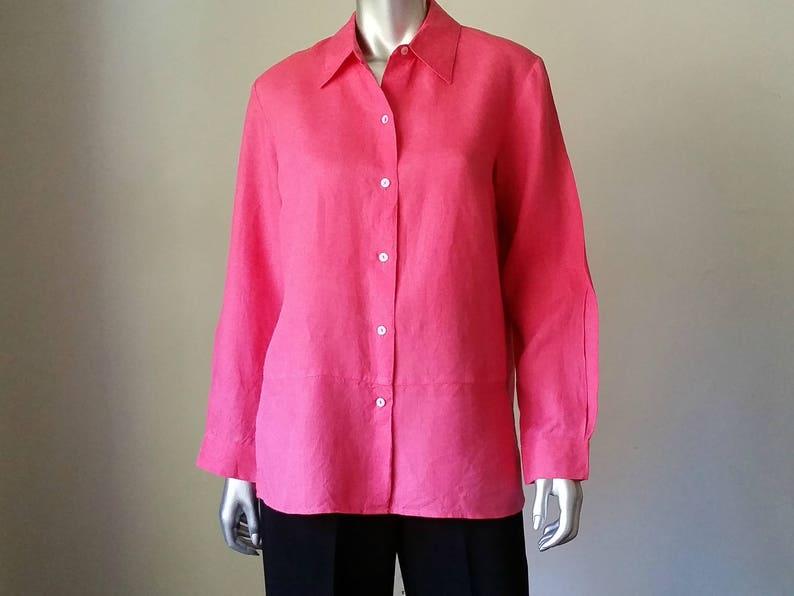 80725b839f45 Irish Linen Loose Shirt Oversized Shirt Raspberry Red