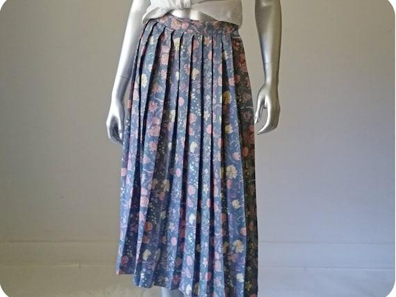 1970s Vintage Blue Floral Skirt Vintage, Midi Skir