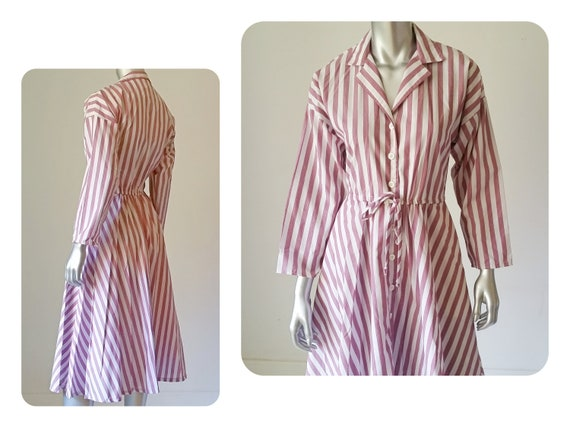 4e68d8d8df799 70s Vintage Dress Striped Cotton Shirt Dress Fit and Flare Dress Button  Down Dress Collared Dress 70s Clothing Full Skirt Stylish Dress