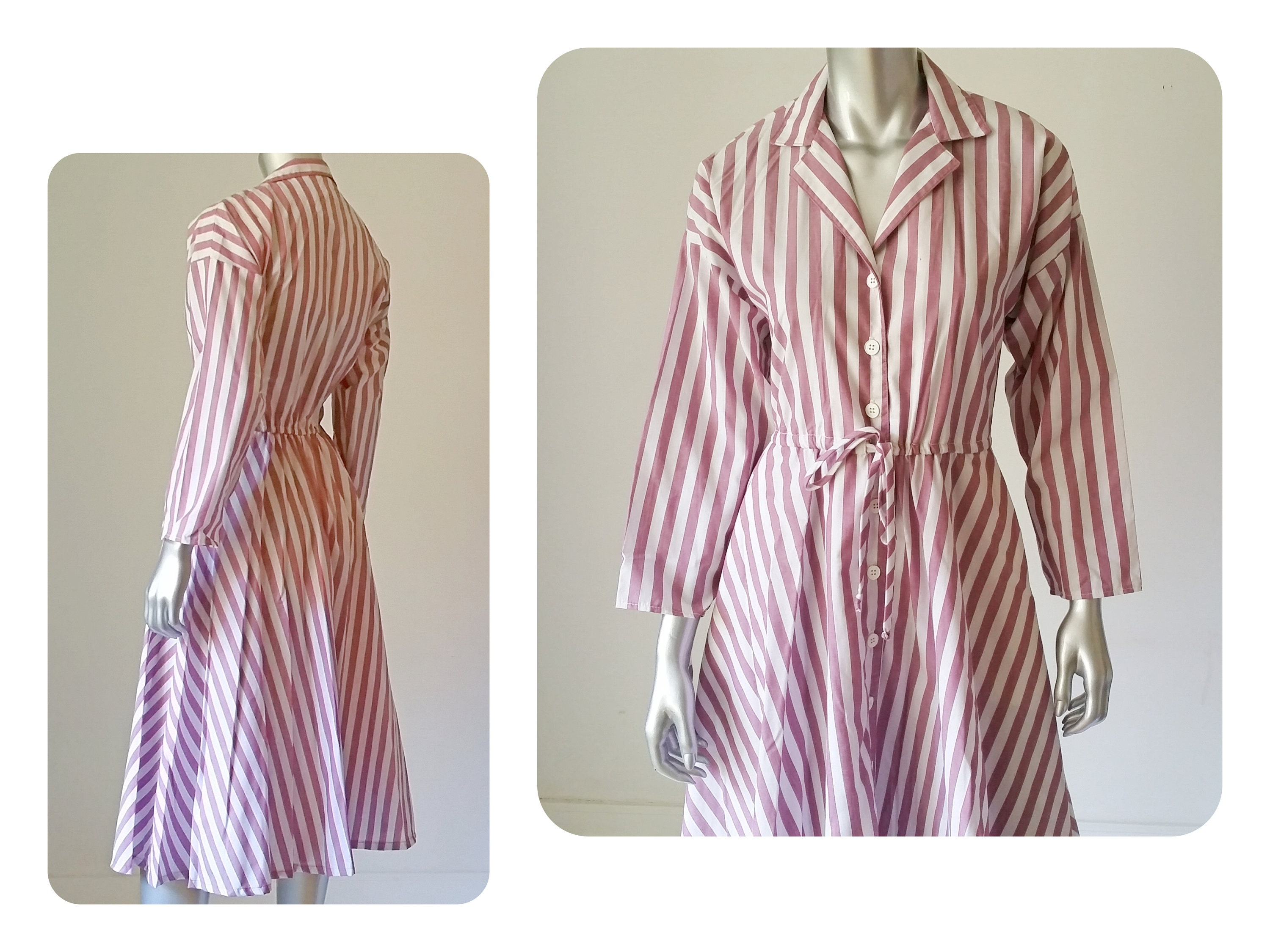 70s Vintage Dress Striped Cotton Shirt Dress Fit And Flare Etsy