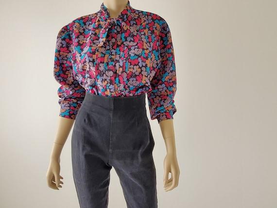 1970s Vintage Floral Blouse, Bishop Sleeve Blouse,