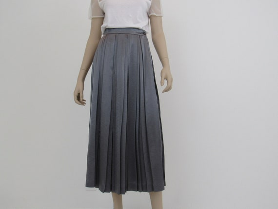 80s Pleated Skirt, Gray Pleated Skirt, Silver Gray