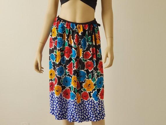 1970s Vintage Black Floral Wrap Skirt, Rose Marie… - image 7