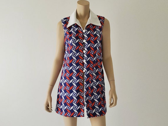 1960s Vintage Mod Top, Red White Blue