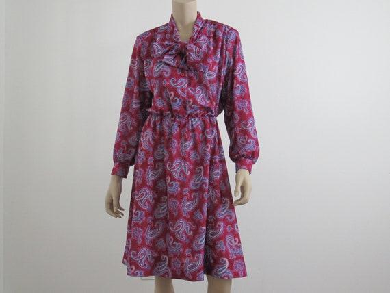 1980s Vintage Paisley Bishop Sleeve Dress, Tie Nec