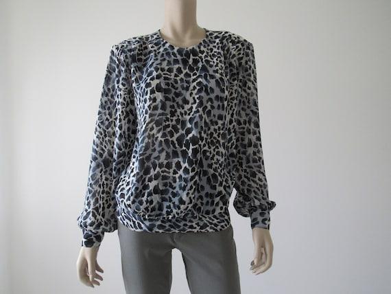 1980s Vintage Blue Leopard Print Blouse Top, Colla