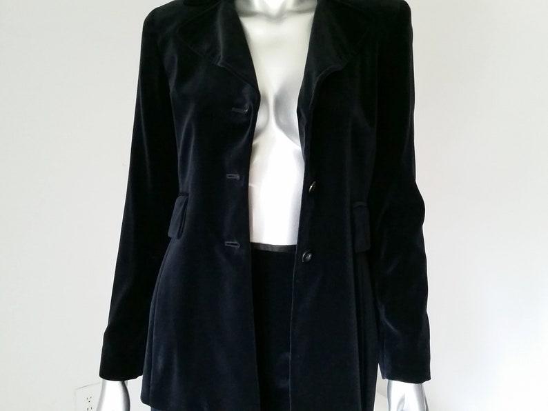 High Collar Suit 90s Velvet Tahari Suit Midnight Blue Velvet Suit Velvet Skirt Suit Blue