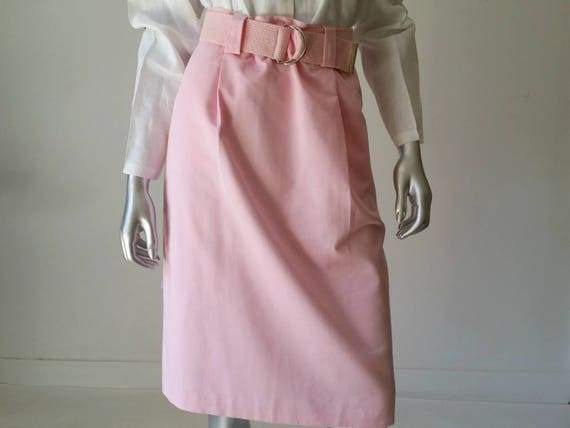 1980s Vintage Pink Cotton Skirt, Buttoned Pencil S