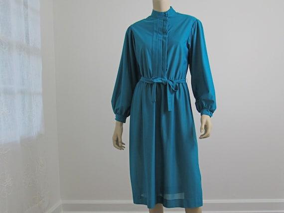 1960s Emerald Green Dress, Bishop Sleeve Dress, Hi