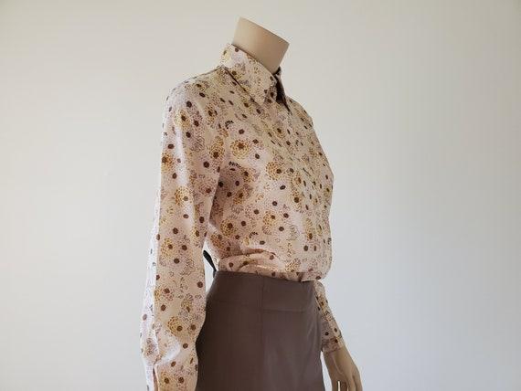 1970s Vintage Floral Button Down Blouse, 70s Flor… - image 6